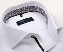 Koszula Casa Moda Modern Fit Twill – biała z brązowo-niebieską wewnętrzną stójką i mankietem