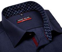 Koszula Marvelis Body Fit – stałowo niebieska z wyszytym wzorem kwadratku - extra długi rękaw