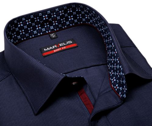 Koszula Marvelis Body Fit – stalowo niebieska z wyszytym wzorem kwadrata i wewnętrzną stójką