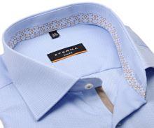 Koszula Eterna Slim Fit – bladoniebieska z strukturą, z jasnoniebiesko-beżową wewnętrzną stójką