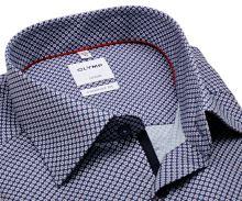 Koszula Olymp Comfort Fit – ciemnoniebieska z czerwono-niebieskim wzorem - krótki rękaw