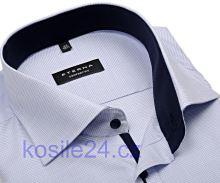 Koszula Eterna Comfort Fit – z niebieskim tkanym wzorem i wewnętrzną stójką - krótki rękaw