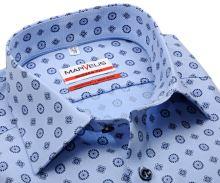 Koszula Marvelis Modern Fit – jasnoniebieska z delikatną strukturą i ciemnoniebieskim wzorem