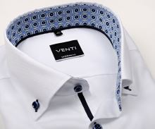 Koszula Venti Modern Fit – biała z delikatną strukturą i stójką wewnętrzną - super długi rękaw