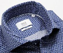 Koszula Eterna Slim Fit 1863 Super Soft - luksusowa ciemnoniebieska z białym wzorem