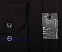 Koszula Marvelis Body Fit – czarna z kołnierzykiem z kołnierzykiem włoskim i szwem rozdzielającym