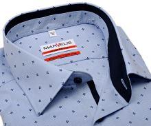 Koszula Marvelis Modern Fit – jasnoniebieska w ciemnoniebieski wzór z wewnętrzną stójką - krótki rękaw