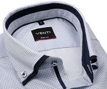 Koszula Venti Body Fit – luksusuwa z drobnym niebiesko-szarym wzorem i podwójnym kołnierzem