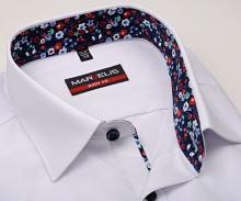Koszula Marvelis Body Fit – biała z kolorową wewnętrzną stójką, mankietem i plisą