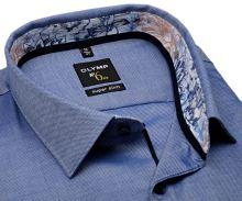 Koszula Olymp Super Slim – niebieska z delikatną strukturą, kołnierzykiem wewnętrznym i mankietem