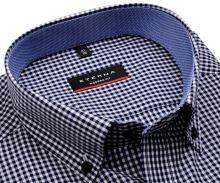 Koszula Eterna Modern Fit – w ciemnoniebieską kratkę z wewnętrznym kołnierzykiem - krótki rękaw