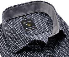 Koszula Olymp Super Slim – czarno-szara w trójkąty i z wewnętrzną stójką - extra długi rękaw