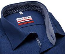Koszula Marvelis Modern Fit – niebieska w wyszyty wzór z wewnętrzną stójką - krótki rękaw