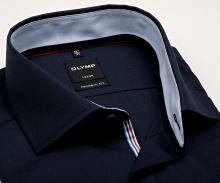 Koszula Olymp Luxor Modern Fit – ciemnoniebieska z jasnoniebieską wewnętrzną stójką - krótki rękaw