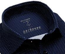 Koszula Olymp Level Five 24/Seven – luksusowa granatowa elastyczna w niebiesko-białe kropki - krótki rękaw