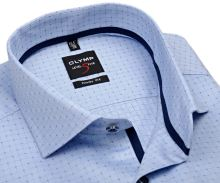 Koszula Olymp Level Five – jasnoniebieska z wyszytą krateczką - krótki rękaw