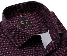 Koszula Olymp Level Five – ciemnoniebieska w drobny czerwono-biały wzór - krótki rękaw