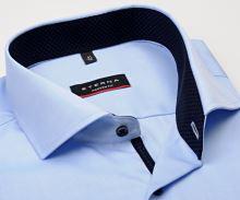 Koszula Eterna Modern Fit Twill Cover - jasnoniebieska luksusowa i nieprześwitująca z granatową stójką wewnętrzną
