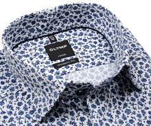 Koszula Olymp Modern Fit – luksusowa biała w niebieski kwiatowy wzór - krótki rękaw
