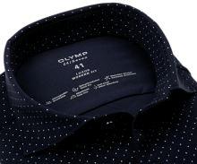 Koszula Olymp Modern Fit 24/Seven – luksusowa elastyczna granatowa w białe kropki - extra długi rękaw