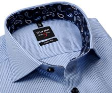 Koszula Olymp Level Five – w niebieskie paski z wewnętrzną stójką i mankietem - extra długi rękaw