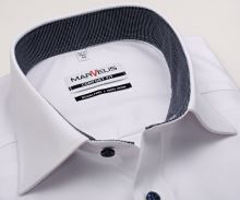 Koszula Marvelis Comfort Fit – biała z delikatną strukturą i wewnętrzną stójką - krótki rękaw