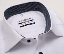 Koszula Marvelis Comfort Fit – biała z delikatną strukturą i wewnętrzną stójką