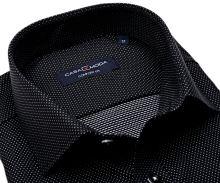 Koszula Casa Moda Comfort Fit – czarna z tkanym wzorem i srebrnymi kropeczkami