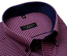 Koszula Eterna Comfort Fit – w czerwono-niebieską kratkę z wewnętrznym kołnierzykiem - krótki rękaw