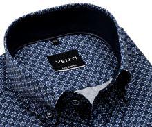 Koszula Venti Modern Fit – w niebiesko-biały wzór z ciemnoniebieską wewnętrzną stójką i mankietem