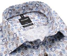 Koszula Olymp Luxor Modern Fit – designerska z niebiesko-beżowym wzorem - extra długi rękaw
