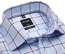 Koszula Olymp Modern Fit – ekskluzywna jasnoniebieska z czerwono-niebieskim wzorem karo