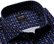 Koszula Olymp Level Five – designerska ciemnoniebieska z niebiesko-czerwonym wzorem - extra długi rękaw