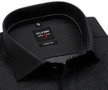 Koszula Olymp Level Five – czarna ze strukturą diagonalną w biał kropki - extra długi rękaw