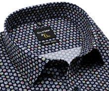 Koszula Olymp Super Slim - designerska ciemna w kolorowe koła