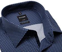 Koszula Olymp Modern Fit – ciemnoniebieska z jasnoniebieskim wzorem i wewnętrzną plisą - krótki rękaw