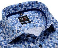 Koszula Olymp Level Five – designerska w niebieski wzór - krótki rękaw