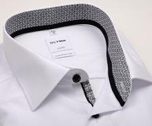 Koszula Olymp Luxor Comfort Fit – biała z czarno-białą ą wewnętrzną stójką i mankietem