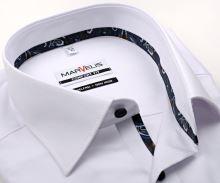 Marvelis Comfort Fit – biała koszula z wyszytym wzorem, wewnętrzną stójką i plisą