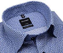 Koszula Olymp Luxor Modern Fit – ciemnoniebieska w drobne białe kwiaty - krótki rękaw