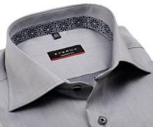 Koszula Eterna Modern Fit Lotus Shirt - szara luksusowa z wewnętrzną stójką - extra długi rękaw
