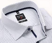 Koszula Olymp Level Five – biała z drobnym ciemnoniebieskim wzorem