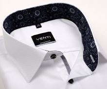 Koszula Venti Modern Fit – biała z niebieską stójką wewnętrzną i mankietem – super długi rękaw