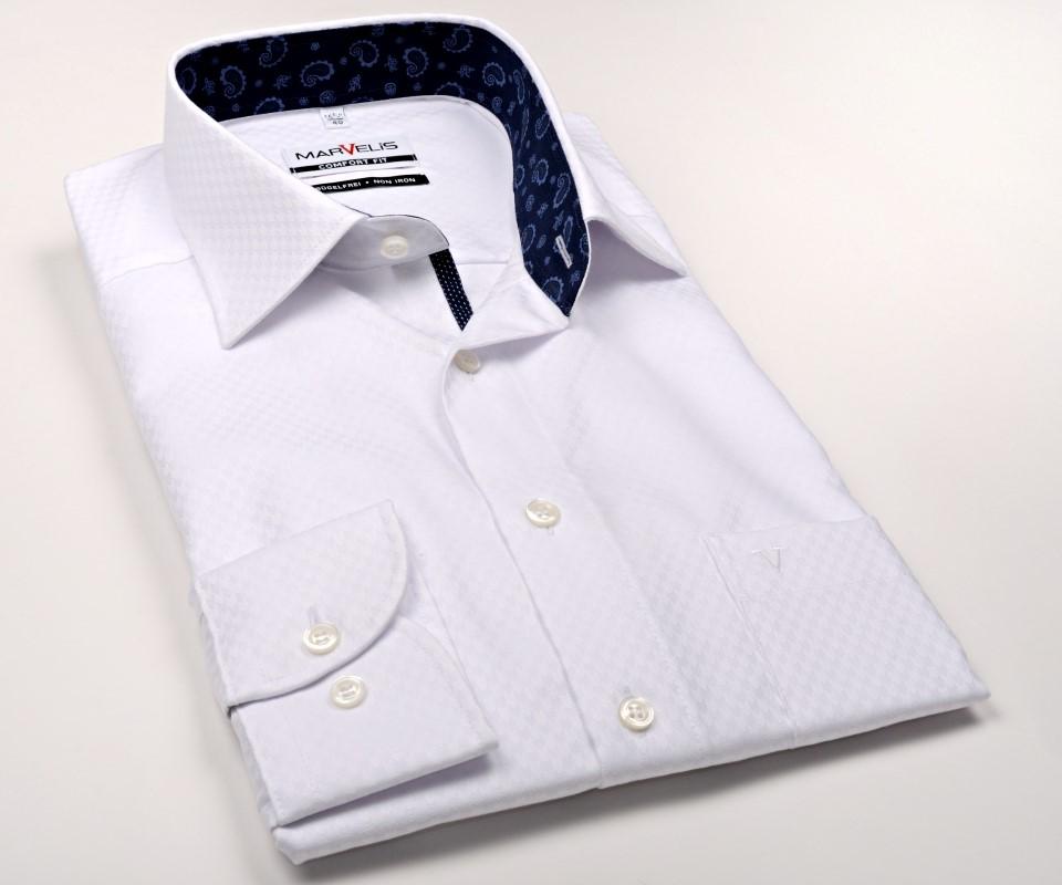 Biała koszula Marvelis w jodełkę z wzorem i wewnętrzną stójką  qwWfZ