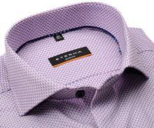 Koszula Eterna Slim Fit – luksusowa z róźowo-niebieskim geometrycznym wzorem - super długi rękaw