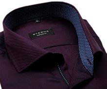 Koszula Eterna Comfort Fit Twill – ciemna czerwono-niebieska z kołnierzykiem wewnętrznym - super długi rękaw