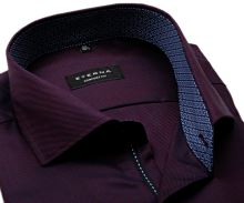 Koszula Eterna Comfort Fit Twill – ciemna czerwono-niebieska z kołnierzykiem wewnętrznym