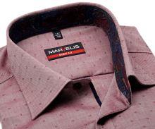 Marvelis Body Fit – czerwono-biała koszula z wyszytym wzorom i kolorową wewnętrzną stójką