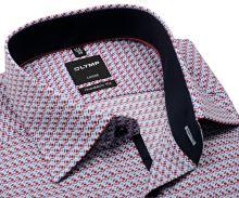 Koszula Olymp Modern Fit – z ochrowo-niebieskim wzorem i wewnętrzną stójką- extra długi rękaw