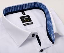 Koszula Olymp Super Slim – biała z niebiesko-białą wewnętrzną stójką i mankietem